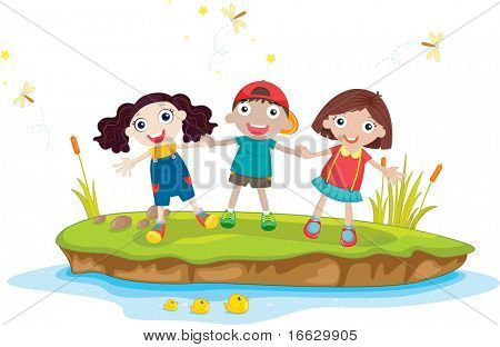 Illustration of  kids on island  - vector EPS of this image also available in my portfolio