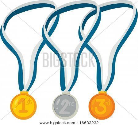 gold, sliver bronze medals