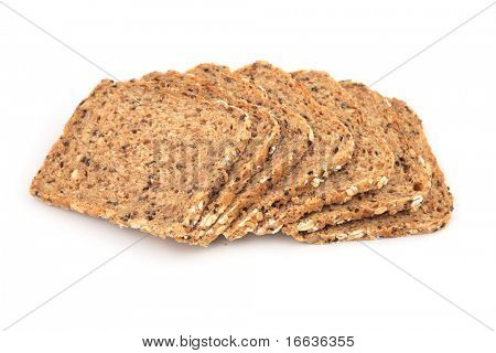 a closeup shot of bread on white