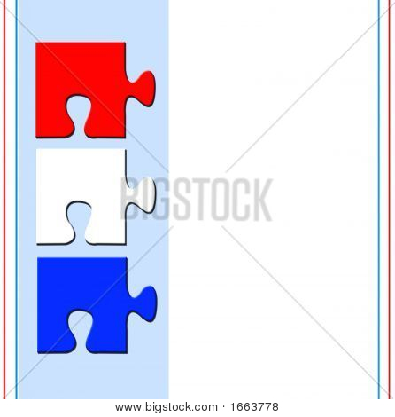 Red White And Blue Puzzle Pieces