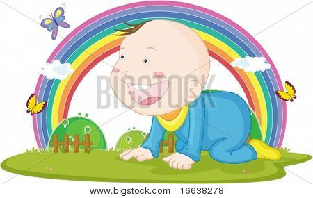 illustration of kid on rainbow background