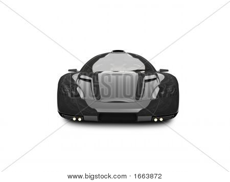 Isolated Black Super Car Front View 03