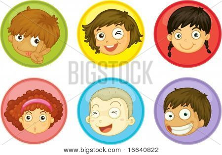 Illustration of a kids faces on a white background