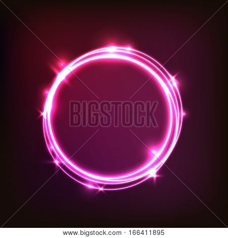 Abstract glowing pink background with circles, stock vector