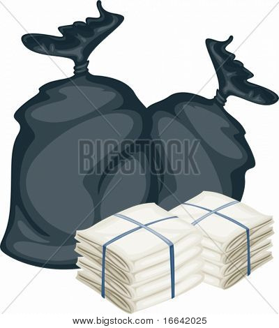 Illustration of two bags on white background