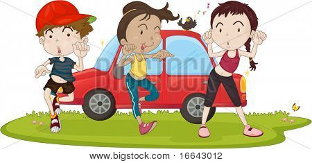 Illustration of Boy and Girls Next to Car on white background