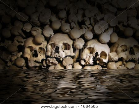 Skulls And Bones From Charnel-House..
