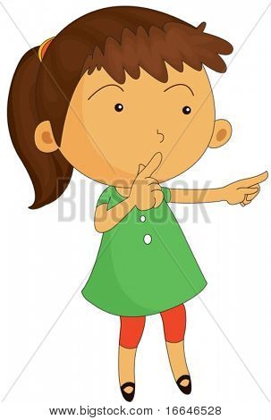 Illustration of A Girl Keeping Silence on white background