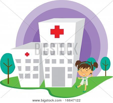 Illustration of A Lady Doctor Near Hospital on white background
