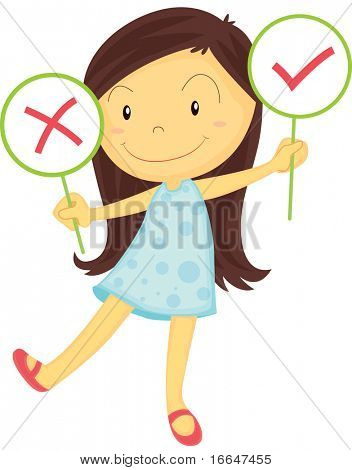Illustration of A Girl Showing Wrong & Right Board on white background