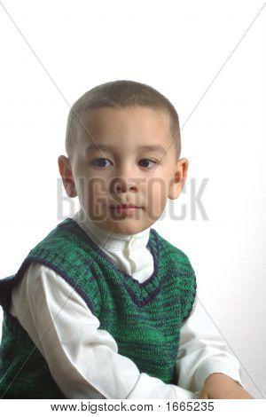 Boy Wearing A Green Sweater