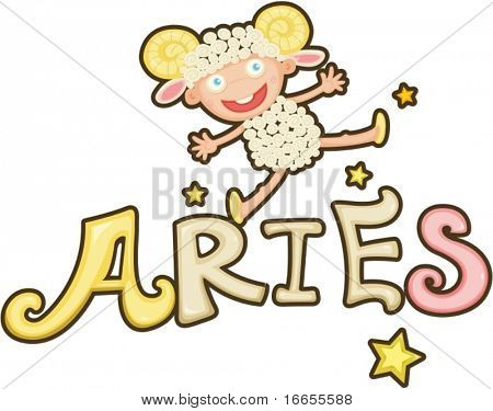 illustration of Zodiac sign aries on a white background