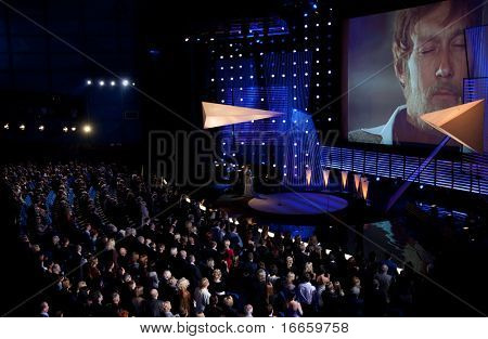 MOSCOW - JUNE,19: In Memoriam Oleg Yankovsky. Portrait Of Actor Oleg Yankovsky On The Screen. Opening Of 31st Moscow International Film Festival at Pushkinsky Cinema. June 19, 2009 in Moscow, Russia.