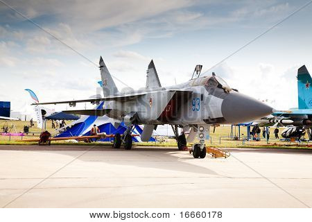 MOSCOW, RUSSIA, AUGUST,19: Fighter Su-24 at the International Aviation and Space salon MAKS,  August,19, 2009 at Zhukovsky, Russia