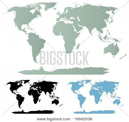 Detailed vector maps of the world. Cartography collection.