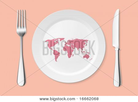 World on the plate concept. Vector art collection.
