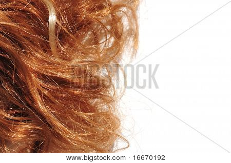 Long hair style on white isolated background
