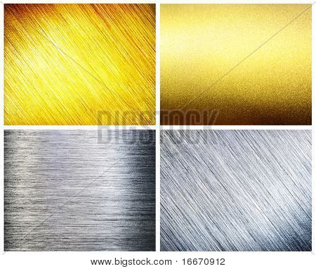 Set brushed silver and gold metal.