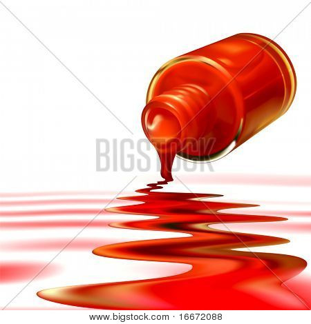 Vector red nail polish on white background. Eps10