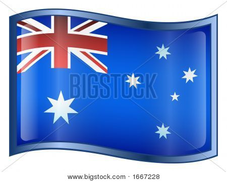 Australia Flag Icon. ( With Clipping Path )
