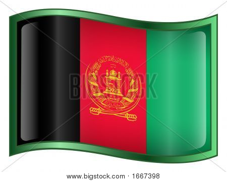Afghanistan Flag Icon. (With Clipping Path)