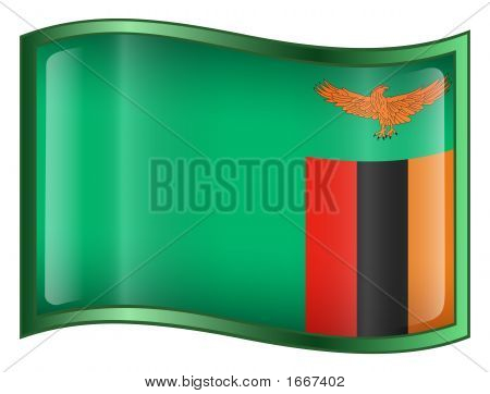 Zambia Flag Icon. (With Clipping Path)
