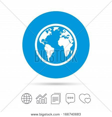 poster of Globe sign icon. World map geography symbol. Copy files, chat speech bubble and chart web icons. Vector