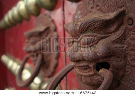 Rote chinesische Tür mit einem Löwen/Drache-Kopf. Konzept: chinesischen Neujahrsfeier.