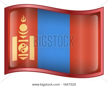 Mongolia Flag Icon. ( With Clipping Path )