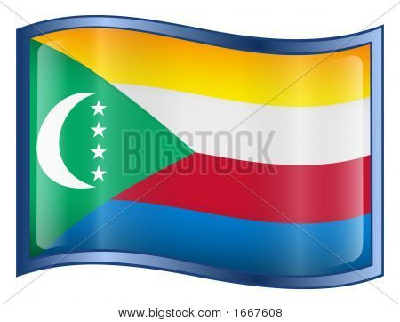Comoros Flag Icon. (With Clipping Path)