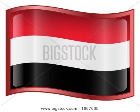 Yemen Flag Icon. ( With Clipping Path )