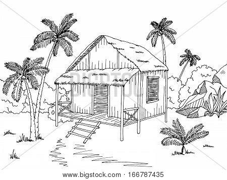 Jungle Hut House Graphic Black Vector amp Photo Bigstock