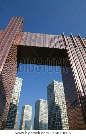 skyscraper with blue sky  in Beijing CBD (Central Business District),China