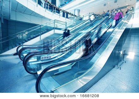 escalator  in big a mall in Hongkong