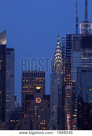 Manhattan Mid-Town Skyline At Night, New York City