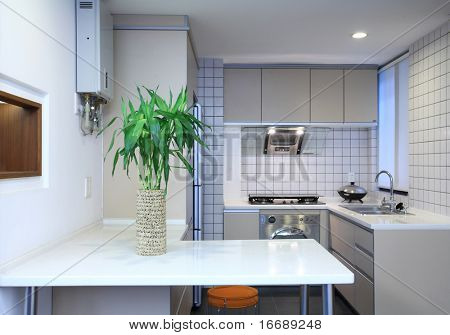 interior design of clean modern white and black kitchen with stainless steel equipment