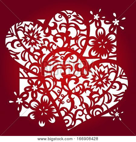 laser engraver templates - laser cut flower pattern for decorative panel vector