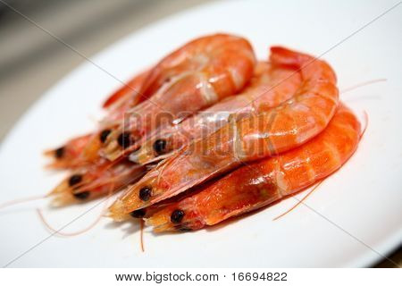 a plate of Delicious prawns in the diningroom