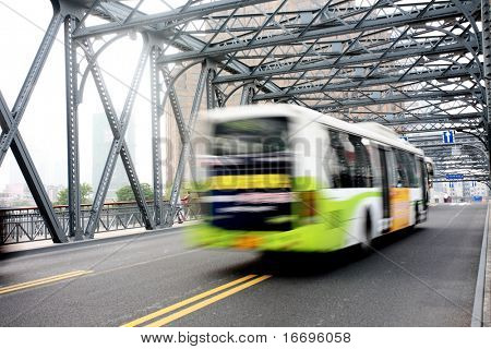 bus throught the bridge in Shanghai