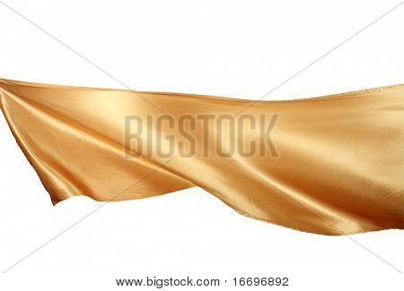 Suave satén oro elegante aislado sobre fondo blanco