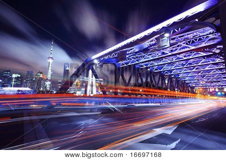 Shanghai Bridge Traffic at night