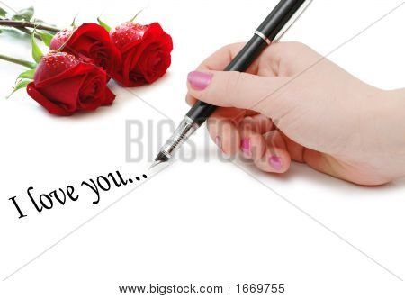 """I Love You"" Message With Roses And Hand"