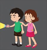 foto of brother sister  - boy and girl scared in the dark illustration - JPG
