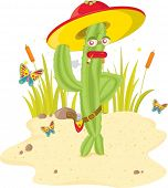 stock photo of sherif  - A green stylish cactus gunman - JPG