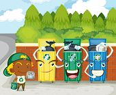 stock photo of dustbin  - Illustration of dustbins on colorful background - JPG