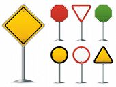 image of octagon shape  - Blank traffic sign set - JPG