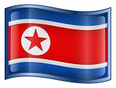 Northern Korea Flag Icon. ( With Clipping Path )