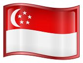 Singapore Flag Icon. ( With Clipping Path )