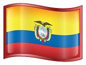 Ecuador Flag Icon. ( With Clipping Path )