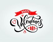 Hand Sketched Happy Valentines Day Text As Valentines Day Logotype, Badge/icon poster